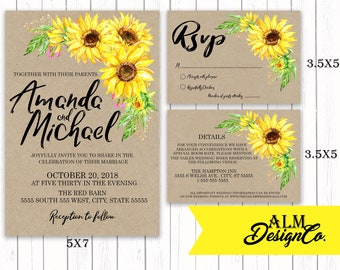 Sunflower Wedding Invitation - Floral Wedding Invitation - Sunflower Wedding - Wedding Invitations