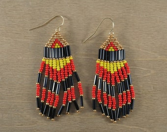 Bead Woven Chevron Dangling Earrings in Black, Red, and Yellow