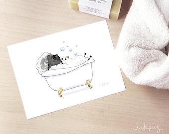 Black Pug Bath Bubbles - minimalist pug in the tub art print, cute black pug bathroom decor, bath art, black pug art print by Inkpug