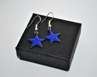 Bright blue enamel star pendant earrings