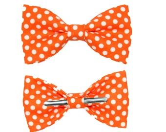 Tangerine Orange With White Dots Clip-On Cotton Bow Tie Bowtie - Choice of Men's or Boys