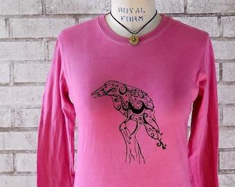 Raven Long Sleeved Tshirt, Womans Pink Shirt, screenprinted tee shirt, Cotton Crewneck, T Shirt, Screenprint Shirt, Winter Clothing, Bird