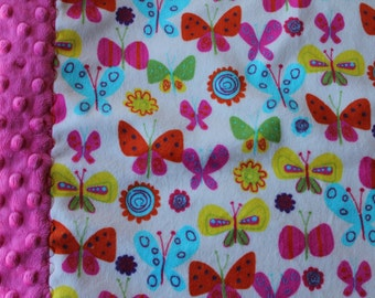 Travel Pillowcase - Butterfly Print Minky with Hot Pink Dimple Dot Minky Border - great for a Toddler or Travel Pillow