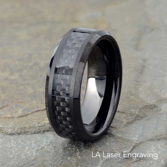 Black Tungsten Wedding Band Black Carbon Fiber Ring Mens