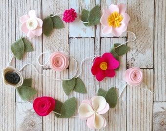 Felt Floral Garland | Felt Garland | Floral Garland | Garland | Felt Flowers | Prop Garland | Nursery Decor | Backdrops | Flower Garland