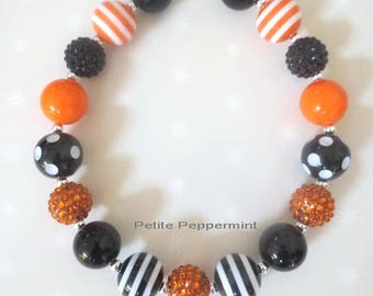 Halloween Toddler Chunky Necklace,Girls Bubblegum Chunky Necklace, Chunky Bead necklace,Girls Bubble Gum Bead Necklace,Children Necklace.
