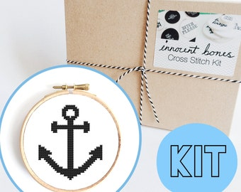 Anchor Pattern Modern Cross Stitch Kit - easy chart design -DIY embroidery kit gift - xstitch gift nautical sailor - for beginners