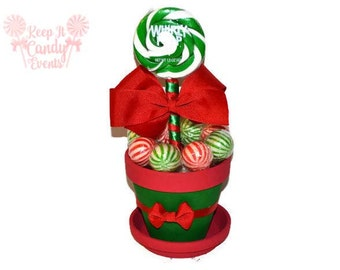 Red and Green Christmas Lollipop Centerpiece, Lollipop Christmas Centerpiece, Christmas Party Decor, Holiday Party Ideas