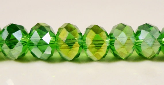 """Crystal Rondelle Beads 8x6mm (6x8mm) Apple Green AB Faceted Chinese Crystal Glass Beads for Jewelry Making on a 7 1/2"""" Strand with 35 Beads"""