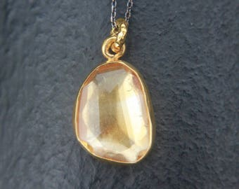 Sterling silver oxidized and gold plated oval shaped natural citrine necklace