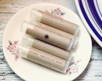 Coconut Vanilla lip balm // Natural Handmade Lip Balm // Healing Lip Balm with Beeswax and Vitamin e