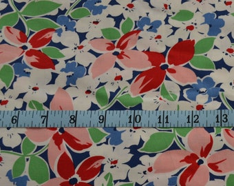 Hi De Ho Fabric - Flower Fabric - Red, White and Blue - Quilting Fabric - By The Yard - Cotton Yardage - Fat Quarter, Half Yard