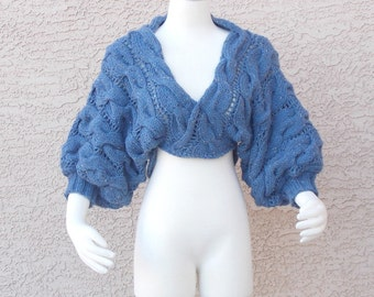 Handmade Hand Knit Shrug Bolero Sweater Uber Chunky Cabled Dusty Blue Tweed