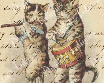 Vintage Cat Tags Instant Digital Download