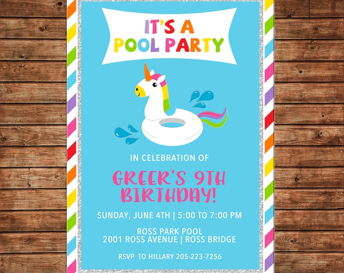 Girl Invitation Unicorn Float Pool Beach Birthday Party - Can personalize colors /wording - Printable File or Printed Cards