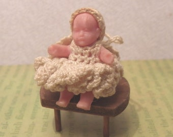 """MINIATURE BABY and STOOL, Crocheted Dress and Cap, Rubber/Vinyl, 1 1/4"""" Tall, Vintage Dollhouse Baby Doll"""