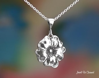 "Sterling Silver Poppy Necklace with 16-24"" Chain or Pendant Only .925"