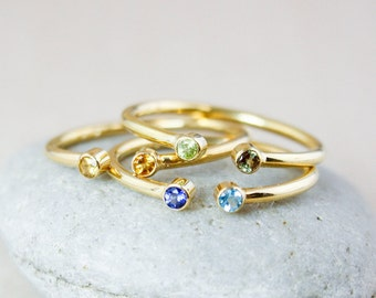 Personalized Dual Birthstone Ring - Sterling Silver with 18Kt Gold Plating