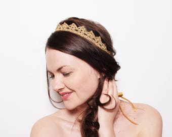 Wedding Crown Headpiece, Bohemian Wedding Tiara, Bachelorette Tiara, Gold Crown Headband, Cosplay Headpiece, Gold Bridal Lace Crown Headband