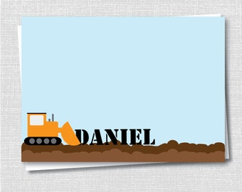 Construction Kids Notecard - Construction Party Thank You - Digital Design or Printed Notecards - FREE SHIPPING