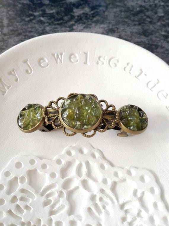 Crystal hair clip boho hair barrette Gemstone hair barrette gift for her Bridesmaid hair pin Raw peridot accessory Green hair jewelry Nature