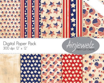 USA flag Stars and Stripes Vintage 4th of July Patriotic Digital Paper American Flag Thanksgiving Digital Scrapbook Craft Instant Download