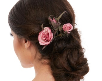 Silk Hair Flowers - Silk Flower Hair Comb - Roses Hair Comb - Floral Bridal Hair Comb - Pink Flower Hair Comb - Real Touch Flowers Hair