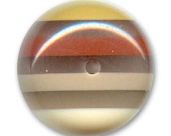 1 flat round bead Brown 20 mm in diameter