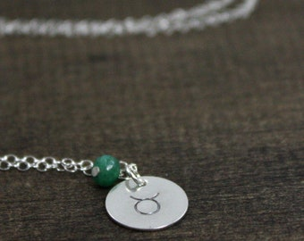 Zodiac Necklace - Sterling Silver, Emerald - May Taurus - Birthstone Necklace - Astrology Jewelry - Birthday Gift For Her - Stocking Stuffer