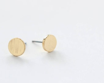 Circle Earring Studs Gold Plated Finding