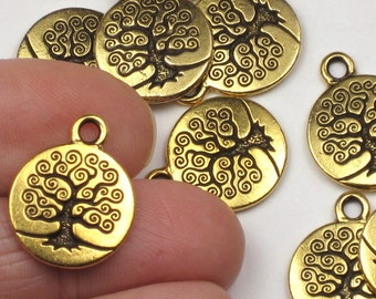 Gold Tree of Life Charms, 2 or more, TierraCast 15mm, Antiqued & Plated Lead Free Pewter, Tierra Cast Spiral Tree Bodhi