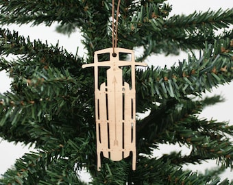 Sled Ornament | Wood Ornament | Holiday Decoration | Holiday Ornament | Christmas Ornament | Home Decor | Sled | Made in Maine
