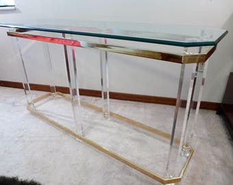 Charles Hollis Jones Lucite And Brass Hollywood Regency Hall Entry Table  With Thick Bevel Glass Top