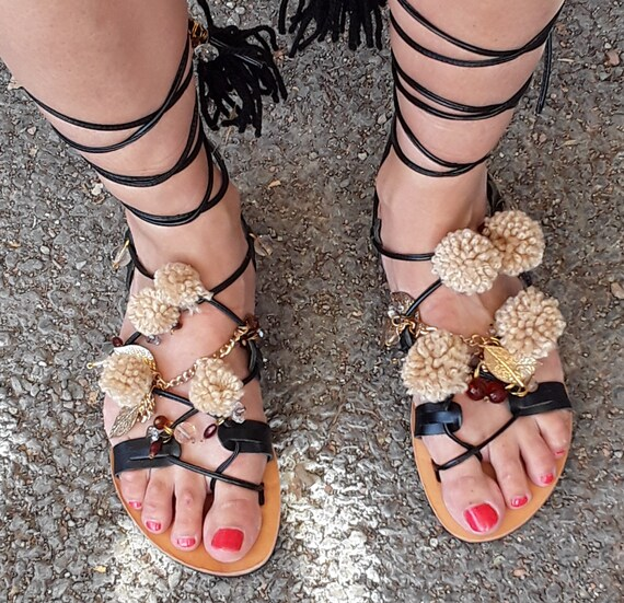 Sandals Gladiator femmes sandals Lace cuir sandals women's sandals gladiators ethnic Boho Black sandales womens up pompom black sandals 5pxwdH5aq