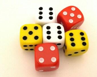 Lot Of 6 Pcs Plastic Playing Blocks Dice Red - Yellow -  White