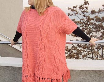 Women wool poncho coral color