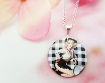 Pinup Girl Necklace, Blonde Pinup Calendar Girl Pendant Gift, Cowgirl Jewelry, Black and White Checkered, Mother of Pearl Necklace, N5735