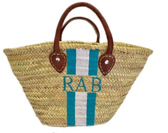 Personalized Hand Painted Straw Bag