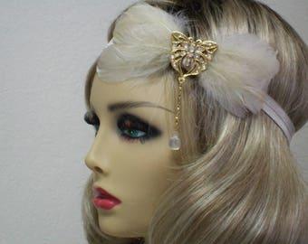Champagne 1920s Headband, Flapper Headband, Great Gatsby Headband, 1920s Headpiece, 1920s Hair Accessory, Vintage inspired