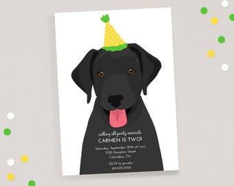Black Lab Birthday Invitation - Children's Puppy Dog Birthday Invite
