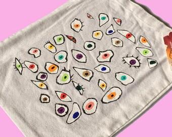 Eyes Hand Painted Tote Bag