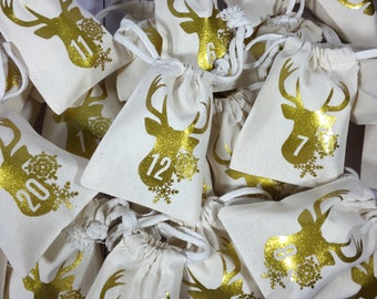 Advent Calendar Bags/Advent Bags/Christmas Bags/Christmas Decorations/Gold Glitter Advent Bags