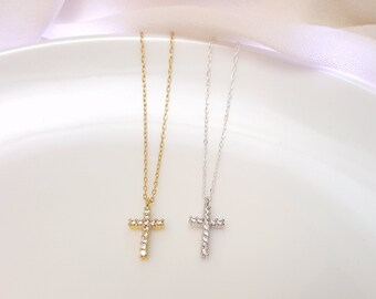 Small CZ cross necklace, silver cross necklace, gold cross necklace, cubic zirconia cross pendant