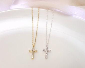 Small CZ cross necklace, silver cross necklace, gold cross necklace, cubic zirconia cross pendant
