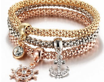 3 Pcs/Set Gold,silver and Rose gold Diamond, ship wheel and anchor Charm Bracelets & Bangles for women