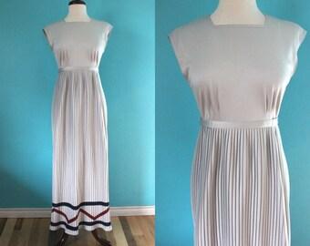 70's Maxi Dress     70's Dove Grey Poly Pleated Jonathan Logan Maxi Dress
