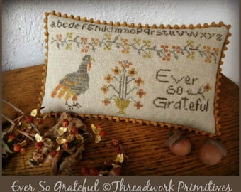 Primitive Cross Stitch Pattern - Ever So Grateful