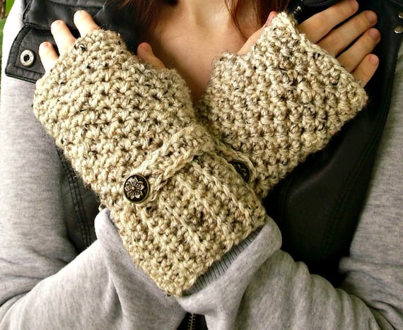 Crocheted Fingerless Gloves Mittens - Fingerless Gloves in Oatmeal - Oatmeal Gloves Oatmeal Mittens Womens Accessories