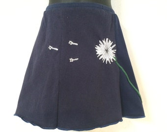 Kids/Girls Skirt Navy with Dandelion Appliqué T-Skirt Upcycled, recycled