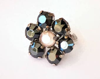 Jet hematite and ivory cream stones flower design Swarovski Crystal ring,silver plated setting,adjustable